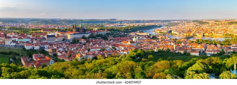 Prague city panorama at sunset, high resolution image, Czech Republic.