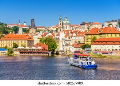 Prague city skyline and Prague Castle, Prague, Czech Republic