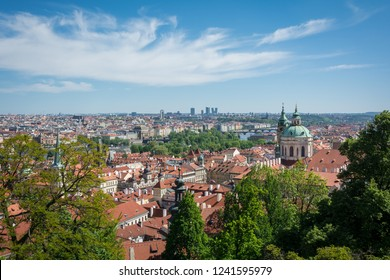 Prague city view with beautiful blue sky taken from Prague castle