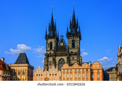 Prague city view, Czech Republic. Old Town, Staromestska square, Church of our Lady Tyn