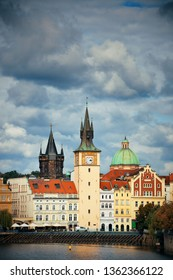 Prague city view with historical buildings in Czech Republic