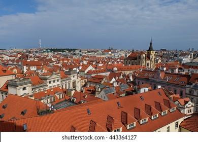 Prague city view from the top of Klementinum observation deck, Prague, the Czech Republic