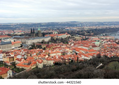 Prague cityscape with castle from Petrin look tower.