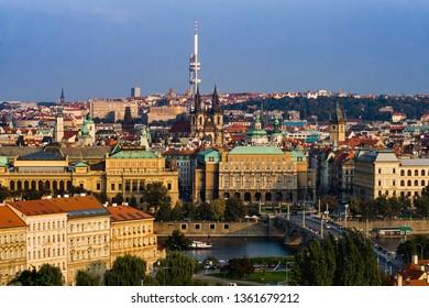 Prague cityscape in Czechia (Czech Republic), capital city historical centre along Vltava river