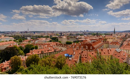 Prague cityscape as seen from prgaue castle, prague, Czech Republic. 2017 July