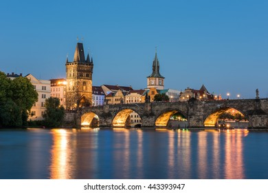 Prague cityscape at sunset. Czech Republic.