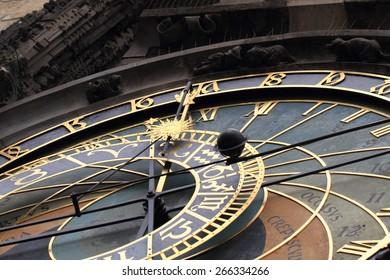 Prague clock detail as nice technology background