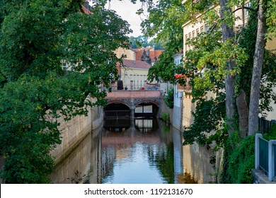Prague, CZ, 21.07.2018:Bridge over the channel Chertovka on the island of Kampa in Prague