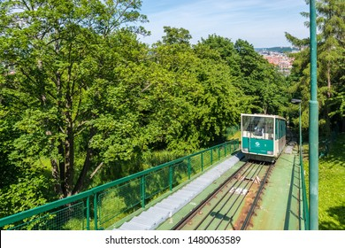 PRAGUE, CZ - MAY 28, 2015: The Petrin funicular railway between Mala Strana district and the top of Petrin in the Czech capital city of Prague.