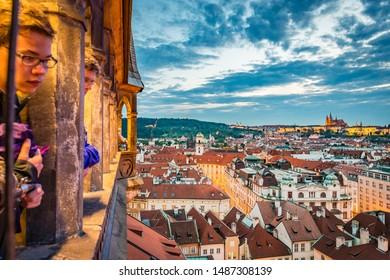 PRAGUE, CZ - MAY 28, 2015: The Prague Astronomical Clock, or Prague Orloj a medieval clock from 1410 in Prague, Czech Republic.