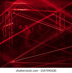 PRAGUE, CZ - OCTOBER 11, 2019: A couple at the audiovisual installation a.r.r.c. by Dreamlaser studio from Novgorod at the Prague Signal light festival 2019
