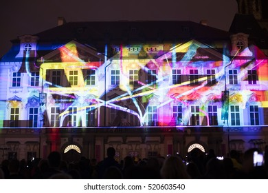PRAGUE, CZ - OCTOBER 15, 2016: Voice of Figures light videomapping at Kinsky palace by Radugadesign at the Old towns sqaure (Staromestske namesti) in Prague during the Signal light festival 2016