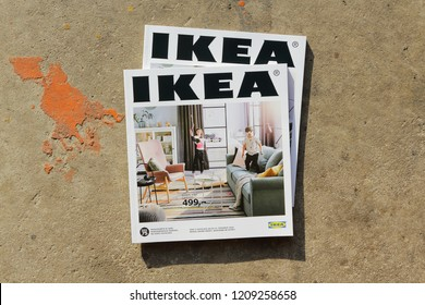Prague, Czech - 1 October 2018.: IKEA Magazine 2018.  IKEA is the world's largest furniture retailer and sells ready to assemble furniture. Founded in Sweden in 1943