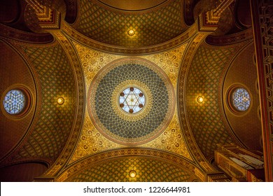 Prague, Czech - 19 November 2017: Spanish Synagogue in the center of Prague, Czech Republic