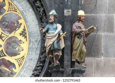 PRAGUE, CZECH - APRIL 24, 2012: These are the figures of the Astronomer and the Chronicler near the Calendar Dial of the Prague Astronomical Clock.