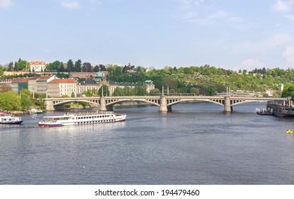 PRAGUE, CZECH - CIRCA APRIL 2014 View of Prague and the Vltava from the bridge Karluv most, Czech republic. April 2014