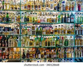 prague, czech - circa november 2015 - a variety of small alcoholic drinks