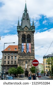 Prague, Czech, May 1st, 2018, Jindrisska Tower in Prague is the Gothic bell-tower in Prague, Czech, that is the part of the Church of St. Henry and St. Cunigund.