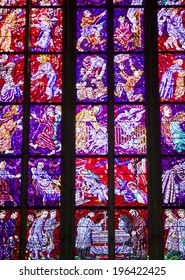 PRAGUE, CZECH - OCT 25, 2013: Stained-glass Window designed by famous Czech Art Nouveau painter Alfons Mucha in St. Vitus cathedral in Prague, Czech on October 25, 2013.