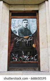 PRAGUE, CZECH - OCTOBER 25, 2014: Franz Kafka's native house. It's now Cafe Kafka.