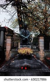 PRAGUE, CZECH - OCTOBER 26, 2014: Vysehrad Cemetery