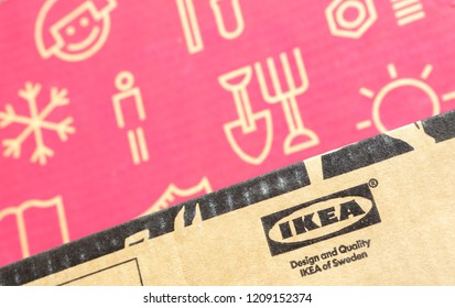 Prague, Czech -  October 3, 2018: Founded in Sweden in 1943 IKEA is world's largest furniture retailer, operates 384 stores in 48 countries, it is selling about 12,000 products
