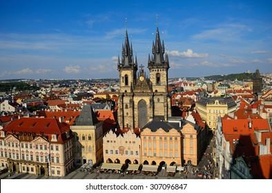 PRAGUE, CZECH REP. - AUGUST 15: Tyn Church on August 15, 2015 at Prague, Czech Rep. Tyn is the main Romanesque church in the old town of Prague.