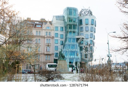 Prague, Czech Republic, 01/03/2017, Dancing house. The building in the style of deconstruction consists of two towers of cylindrical shape, one of which is bent, and as it resembles a couple dancing.