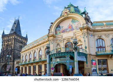 Prague, Czech Republic, 01/03/2017, Municipal House and Prasna Brana (powder tower). The municipal house is the main attraction of the Republic Square. It is the pearl of Prague's architecture.