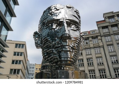 Prague / Czech Republic - 02 10 2015: The Rotating an eleven - meter - tall mirrored Sculpture of Czech writer Franz Kafka Head. When all 42 of the moving panels align, the steel plates form the face