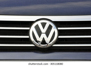 PRAGUE, THE CZECH REPUBLIC, 02.08.2015 - detail logo of car brand Volkswagen
