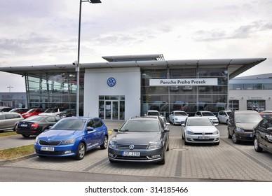 PRAGUE, THE CZECH REPUBLIC, 02.08.2015 - Volkswagen car store in Prague