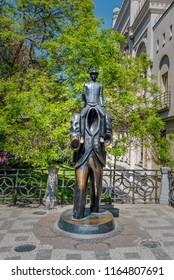 PRAGUE, CZECH REPUBLIC - 05 May, 2018: Monument of Franz Kafka in Prague, Czech Republic against blue sky.