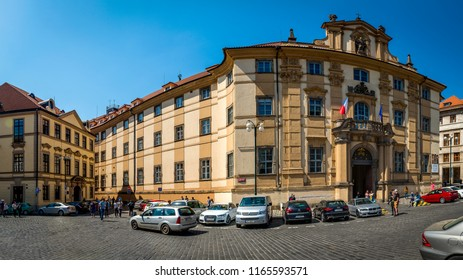 Prague, Czech Republic - 05 May, 2018: The Clementinum is a historic complex of buildings in Prague. Until recently the complex hosted the National, University and Technical libraries