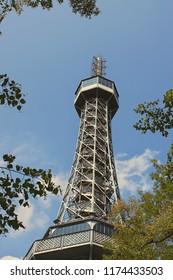 Prague / Czech Republic - 09.08.2018: The Petřín Lookout Tower is a 63.5-metre-tall steel-framework tower in Prague.