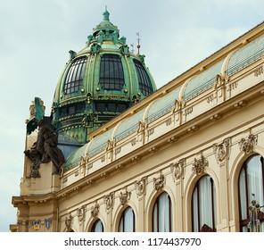 Prague / Czech Republic - 09.08.2018: Municipal House is a civic building that houses Smetana Hall, a celebrated concert venue, in Prague.