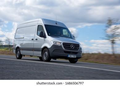 Prague, Czech Republic, 09-25-2018, Mercedes-Benz Sprinter – box body. In the ride.