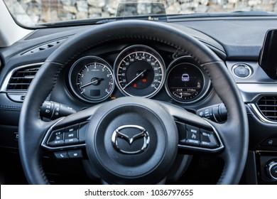 PRAGUE, THE CZECH REPUBLIC, 1. 3. 2018: New Mazda 6, 2.0 Skyactiv-G, model year 2018 in Czech: interior