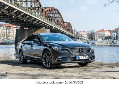 PRAGUE, THE CZECH REPUBLIC, 1. 3. 2018: New Mazda 6, 2.0 Skyactiv-G, model year 2018 in Czech on road