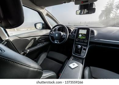 PRAGUE, THE CZECH REPUBLIC, 1. 3. 2019: Renault Scenic TCe 140, model year 2019 in Czech: Interior