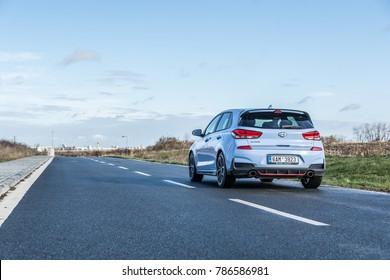 PRAGUE, THE CZECH REPUBLIC, 10. 12. 2017: New Hyundai i30 N 2.0 T-GDI 202 kW, model year 2018 in Czech on road
