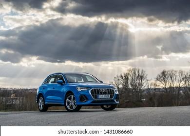 PRAGUE, THE CZECH REPUBLIC, 10. 4. 2019: New Audi Q3, model year 2019 in Czech in nature