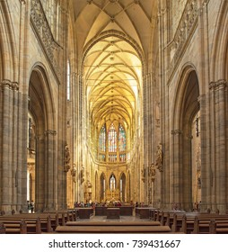PRAGUE, CZECH REPUBLIC - 10 AUGUST, 2017 - The Prague's Gothic jewel, St. Vitus Cathedral, is the most famous church at Prague Castle.