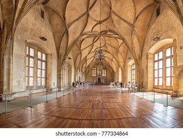 PRAGUE, CZECH REPUBLIC - 10 AUGUST, 2017 - Interior of Vladislav Hall, a large room within the Prague Castle complex, used for large public events of the Bohemian monarchy.