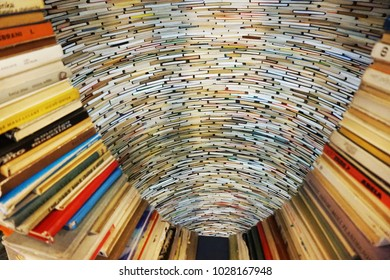 PRAGUE, CZECH REPUBLIC - 10 january, 2018: a endless old book tunnel tower in Prague, in the public library