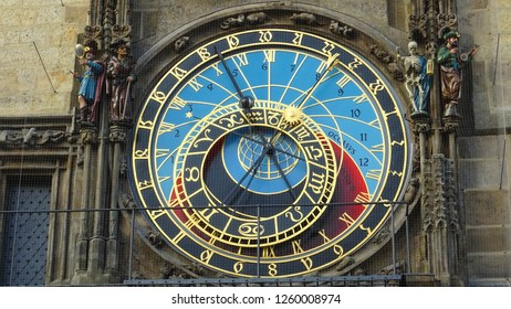 Prague / Czech Republic - 12 12 2018: famous Astronomical Clock on Old Town Square of capital city of Czechia, Prague, Central Europe (the oldest astronomical clock in the world still operating)