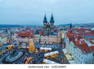 Prague, Czech Republic - 12 December 2017: Prague Christmas Market