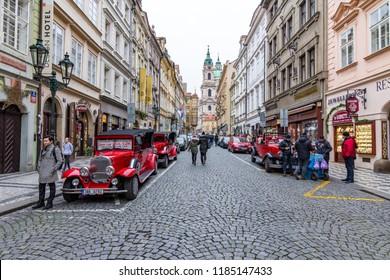 Prague, Czech Republic - 12 December 2017: Street in Prague