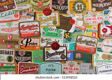 PRAGUE, CZECH REPUBLIC - 12. MARCH, 2015: Vintage Czech beer labels.