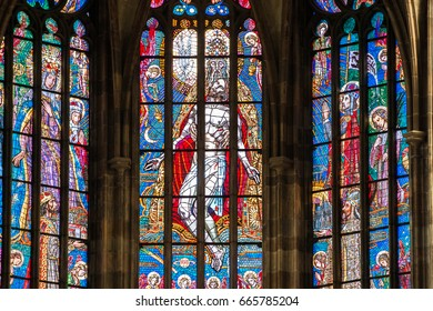 PRAGUE, CZECH REPUBLIC - 12 may, 2017: The beautiful interior of the St Vitus Cathedral in Prague, Czech Republic